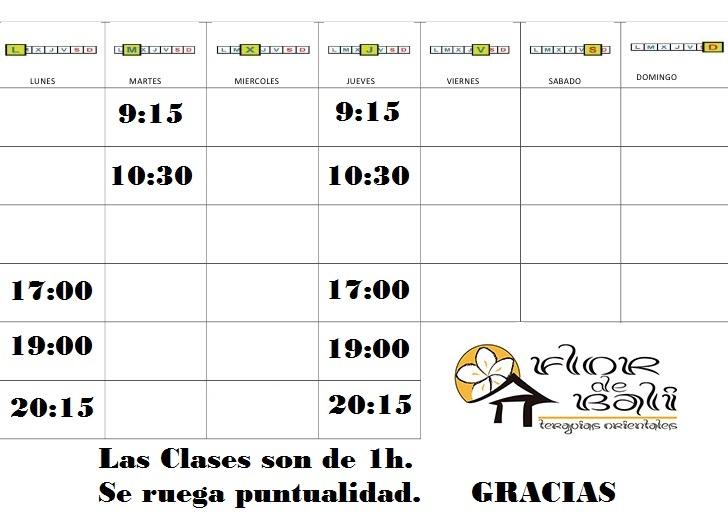 Clases y Horarios 2017-2018   Yoga Integral