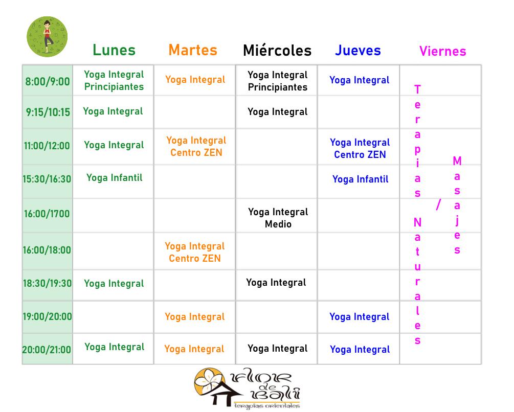 Clases  y  Horarios  2020 – 2021 YOGA INTEGRAL
